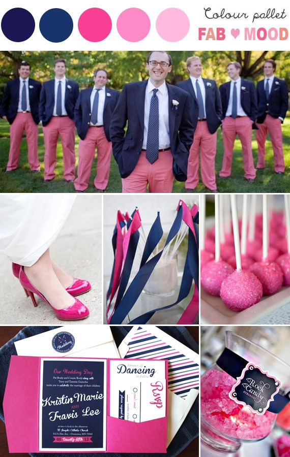 Love groom groomsmen worn pink trousers! how sweet is that?navy pink wedding idea,navy pink wedding theme   fabmood.com