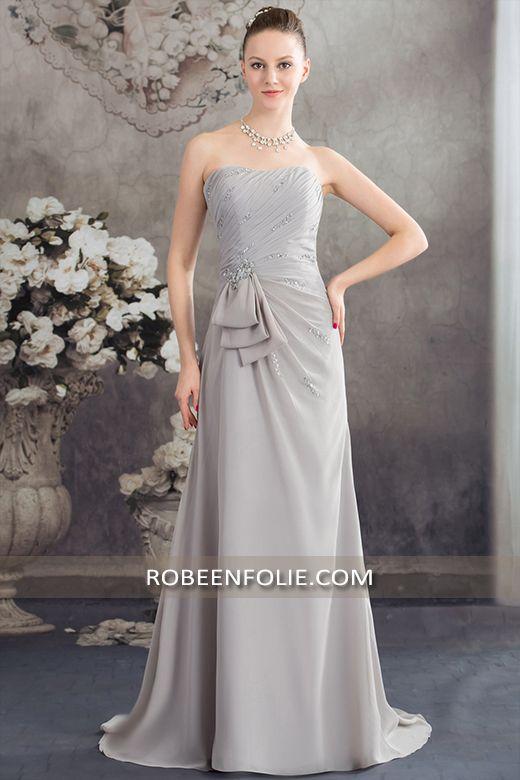 Robe pour mariage invité en mousseline argent avec le bustier plissé et pailleté scintillant, #robe #mariage #invité