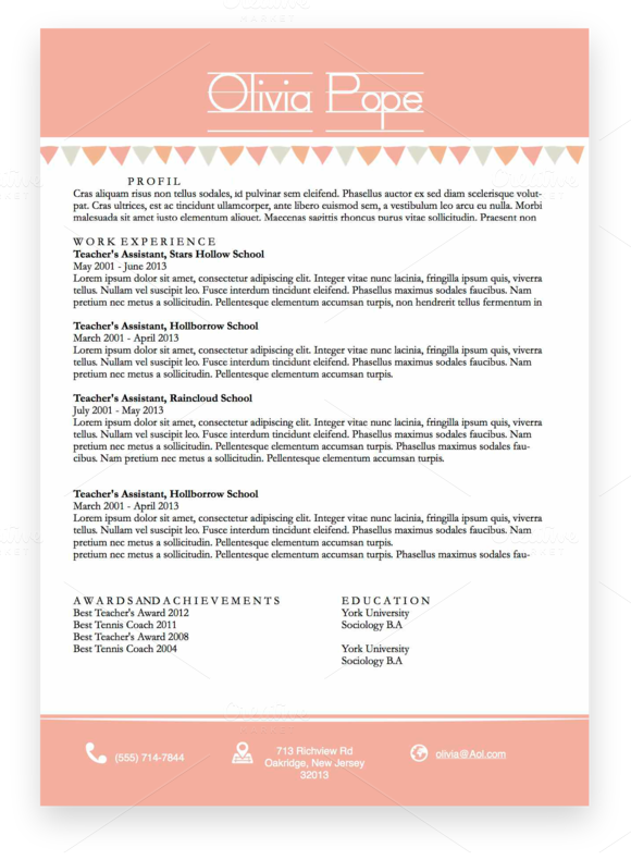 pink resume template docx cv by trisshataylor on creative market