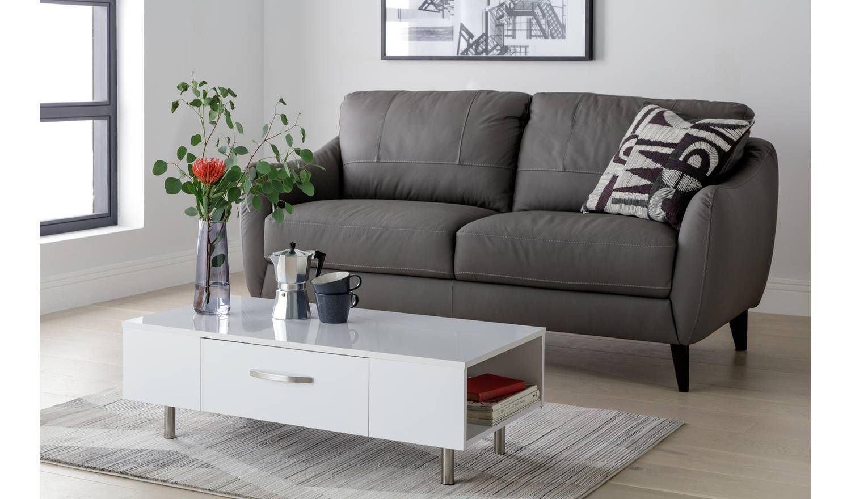 Buy argos home hayward 1 drawer coffee table grey gloss