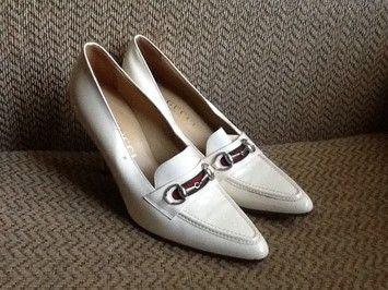 Gucci Patent Leather Horsebit White Pumps