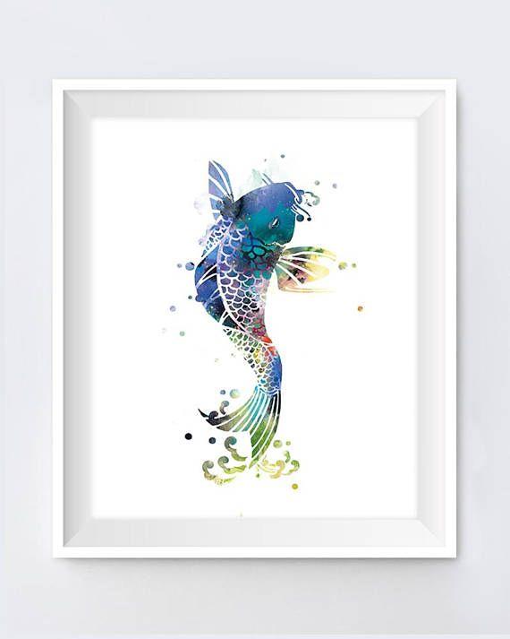 Koi Fish Art Print Koi Fish Wall Art Poster Nature Abstract