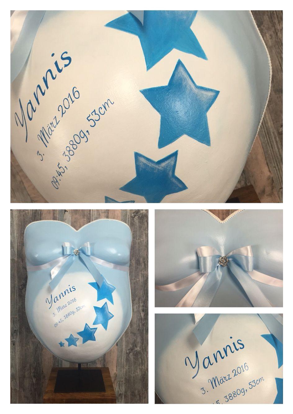 Blue Star, Belly cast, designed by Bea's  www.babybauch-abdruck.ch