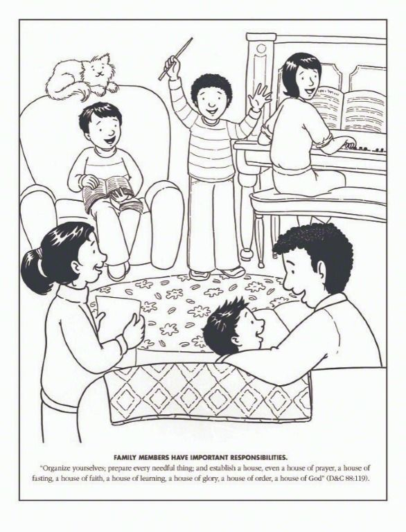 Primary Coloring Page Family Sings Together Family Home Evening