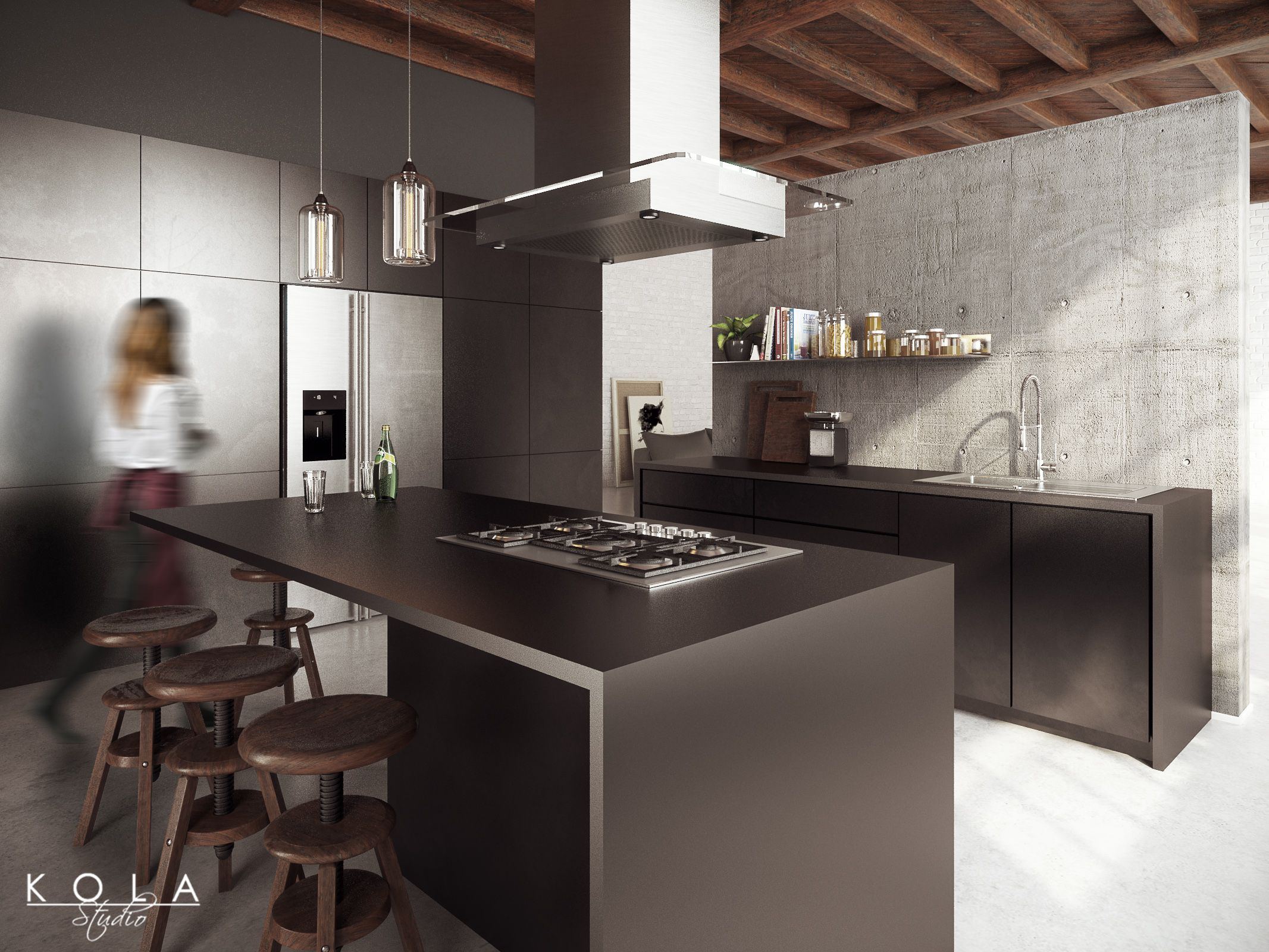 Loft kitchen visualization design kola studio tags for Kitchen design visualiser