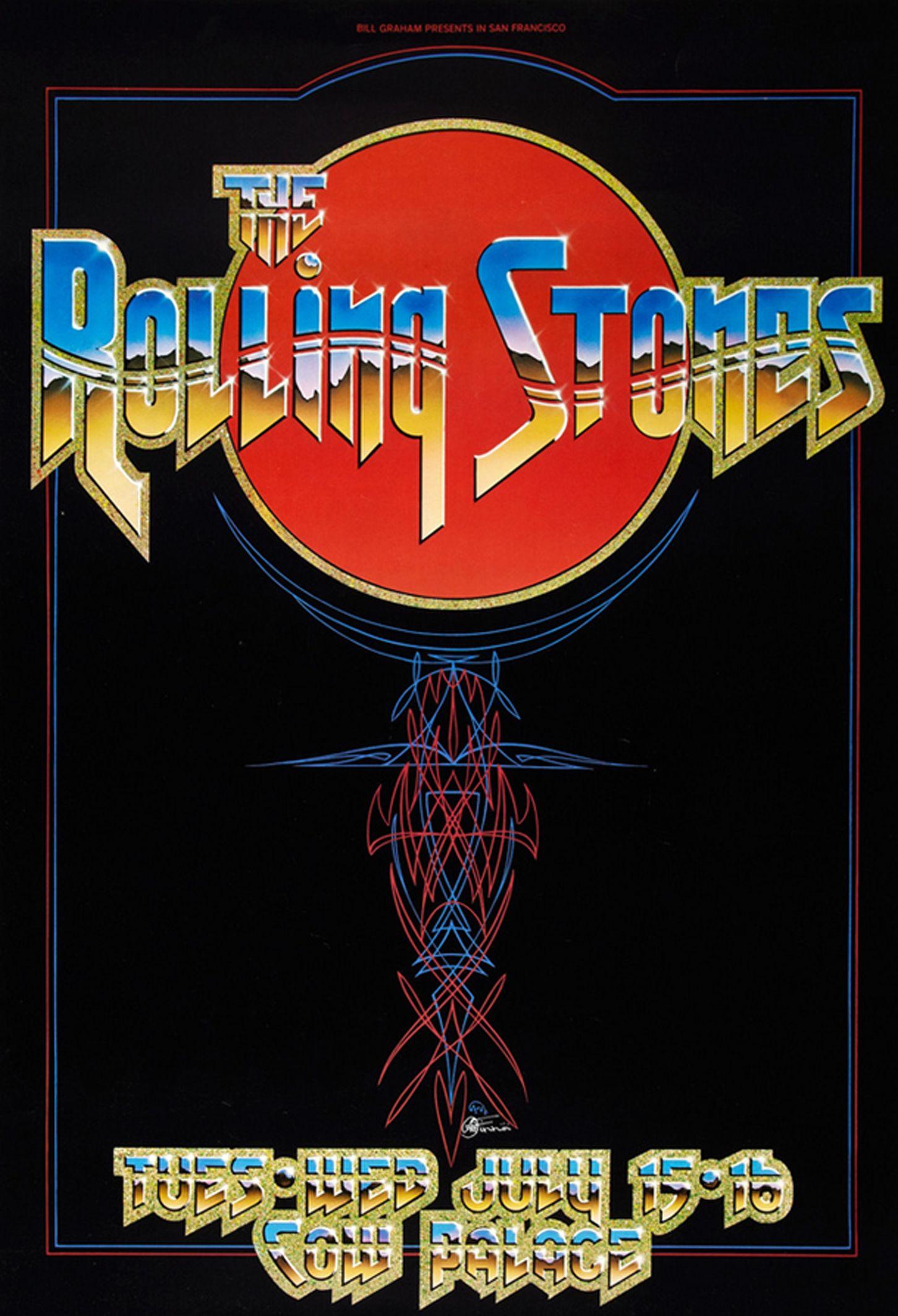 The Rolling Stones 1975 Concert Posters Vintage Concert