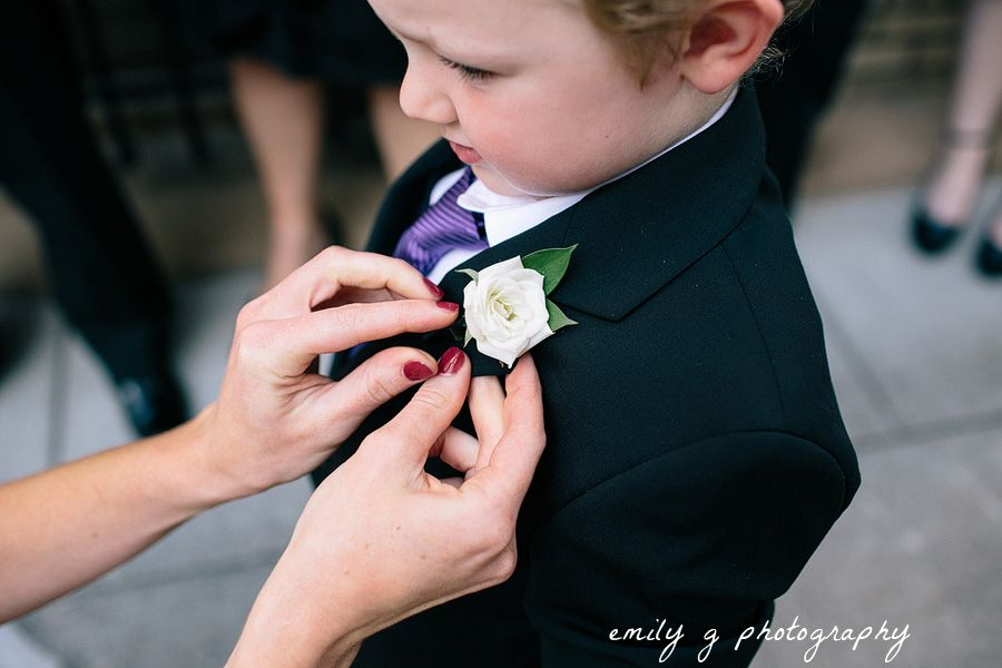 White Rose Ring Bearer Boutonniere Photo By Emily G Photography Www Emilygphotography