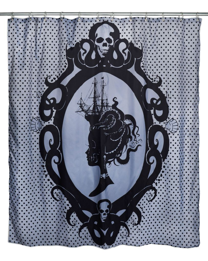 Superior Goth Shower Curtain Part - 10: Inked Boutique - Octopus Cameo Shower Curtain Victorian Inspired Lady Ship  Skulls Www.inkedboutique.
