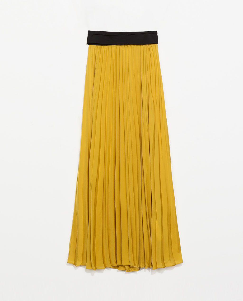 6e735220fd  Falda  larga  mostaza  plisada  · ZARA · 49