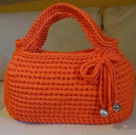 crochet - háčkovaná oranž, kabelka