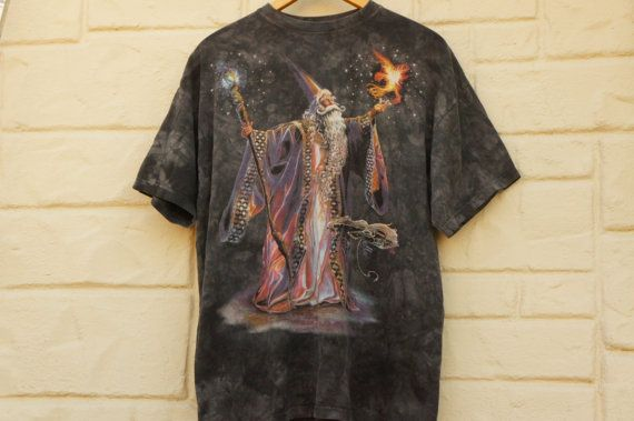 Vintage 90s wizard merlin print tie dye t shirt by for Wizard t shirt printing