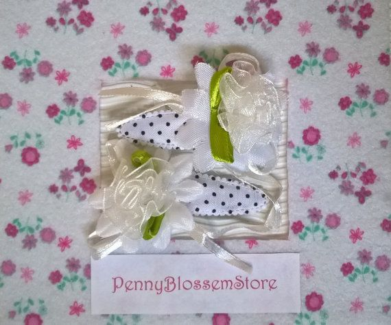 Handmade set fabric flower hair clips by PennyBlossemStore on Etsy. Hairpin, Hairclip, haarspeldje, pennyblossemstore, etsy.