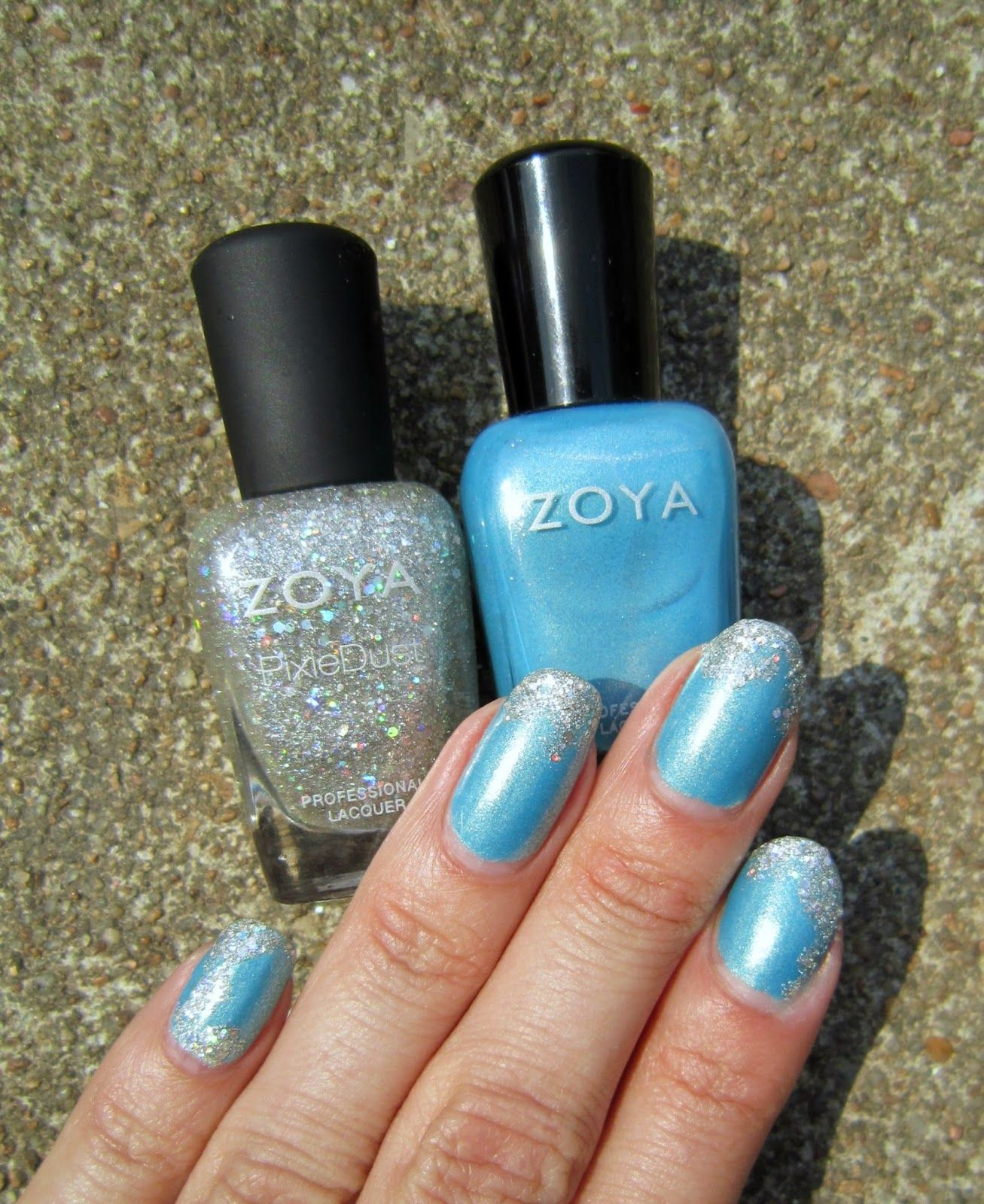 Concrete and Nail Polish: Zoya Rebel & Cosmo Nail Art