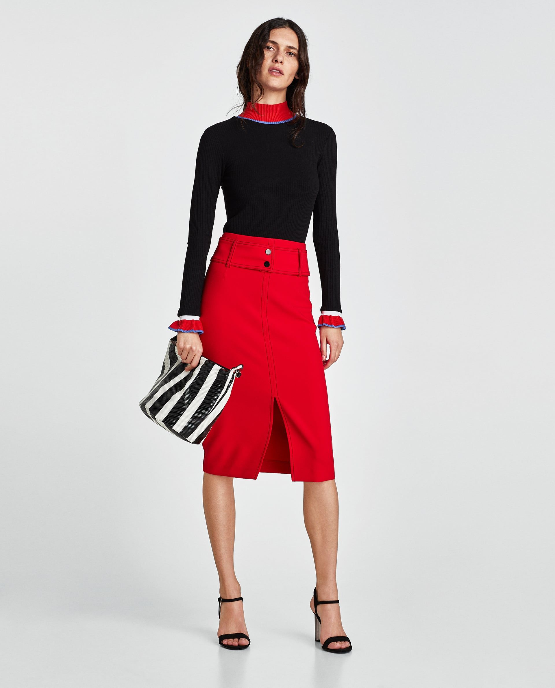 a0d7213f6 FALDA TUBO PESPUNTES | Fashion | Moda femenina, Zara y Blusas de moda