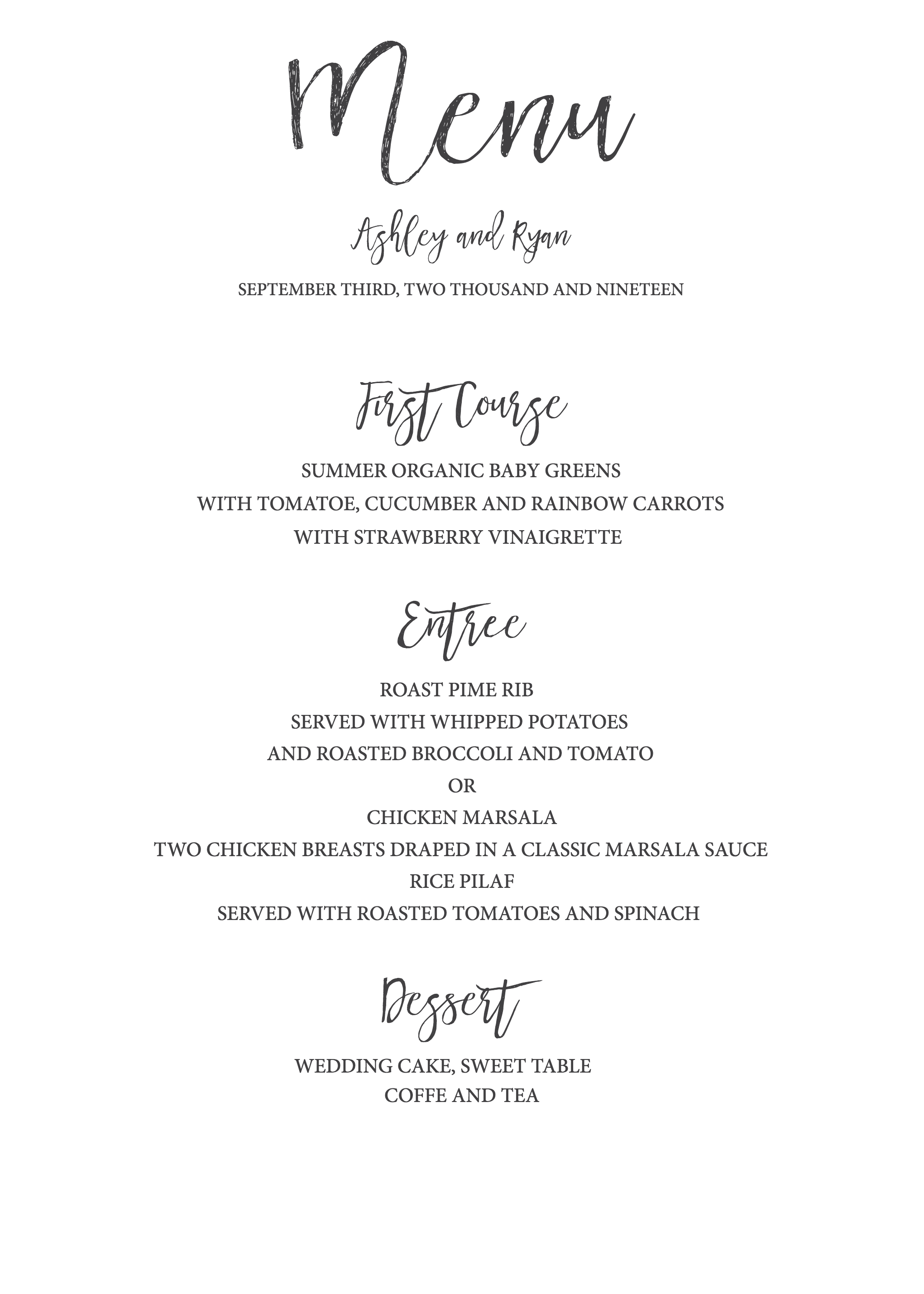 Wedding Menu Template.Timeless And Simple Wedding Invitation Freebies Free Printables
