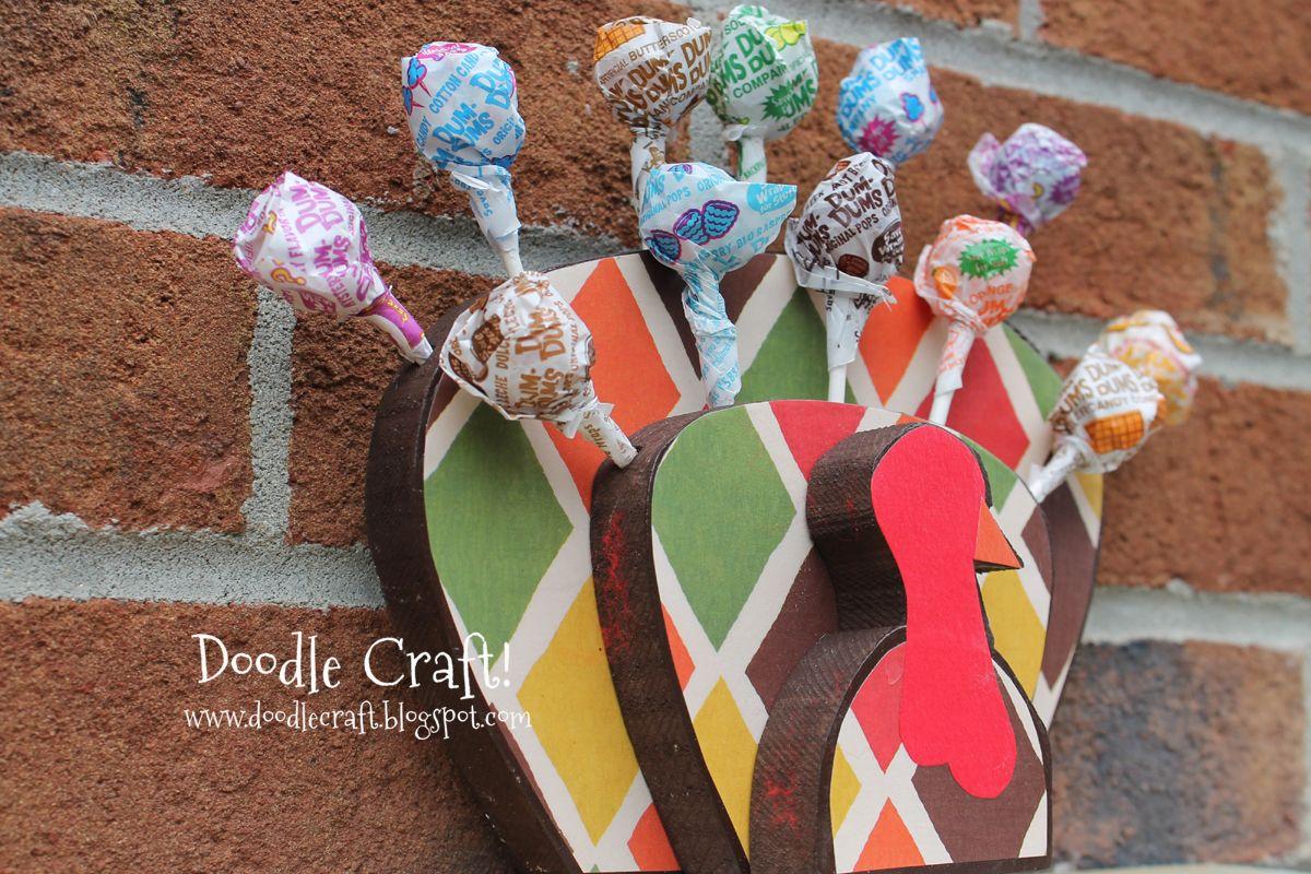 Turkey lollipop display for thanksgiving doodlecraft crafts and