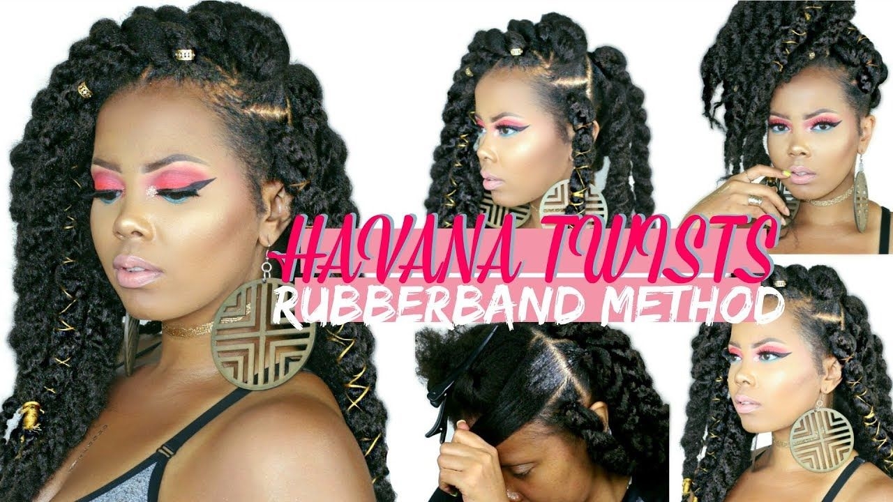 Easy jumbo havana twists rubber band method styling on natural