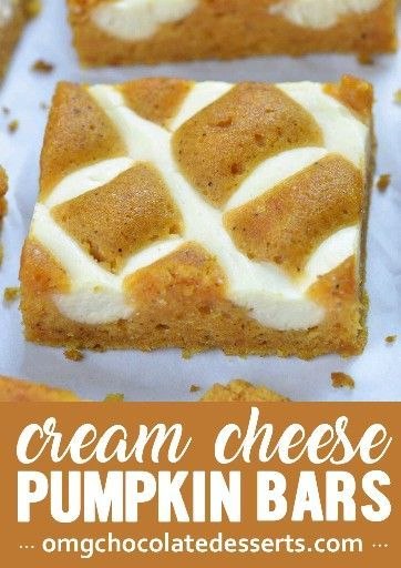 Pumpkin Bars with Cream Cheese Pumpkin Bars with Cream Cheese is simple and easy dessert recipe for fall baking season. Moist and spicy pumpkin bars are delicious breakfast or snack. But this crowd-pleasing treat is fancy enough to be served as a dessert at Halloween party or as light and easy dessert after Thanksgiving dinner.
