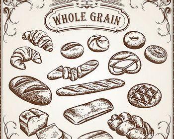 Vintage Bread Drawing Vector Jpg 350 280 Diseno De Logotipo De Panaderia Pizzarras Decoracion De Panaderia
