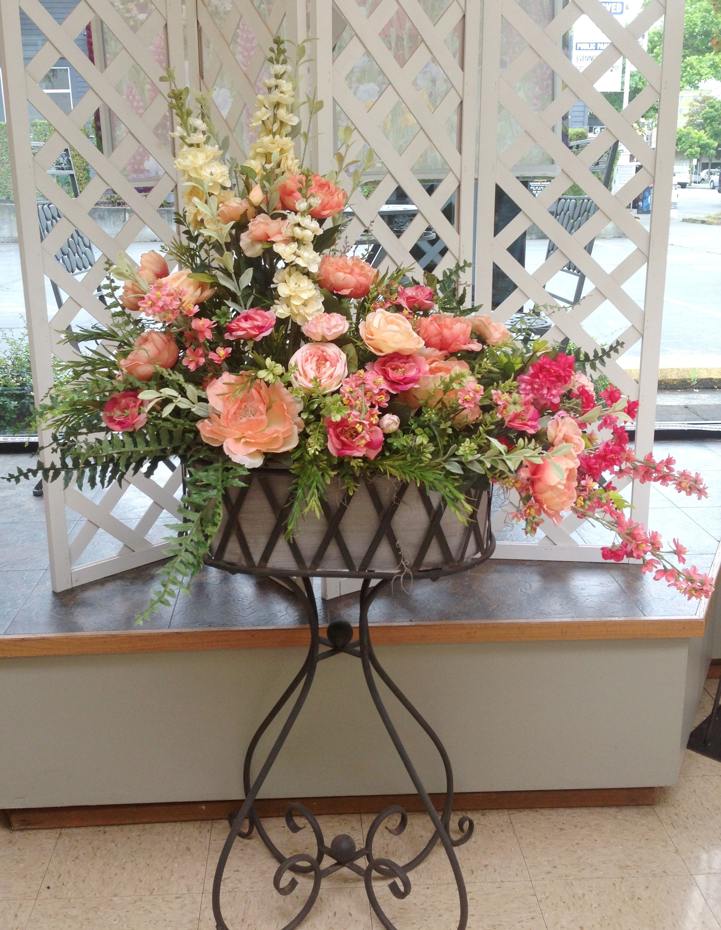 Large Artificial Silk Flower Arrangement, In Pink, Peach, And Apricot