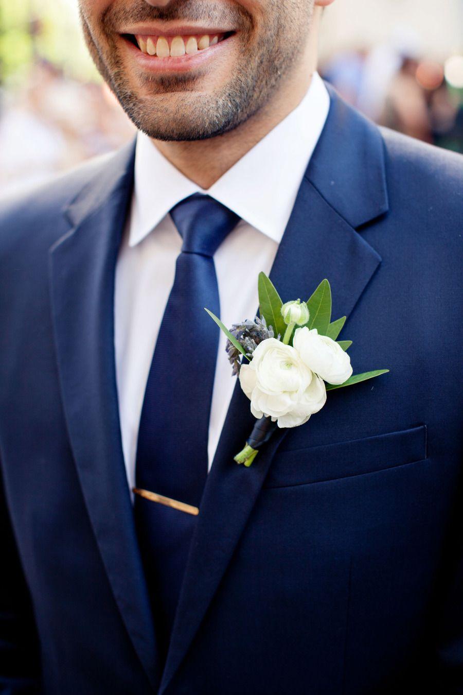 Boutonniere Groom Navy Tie Wedding