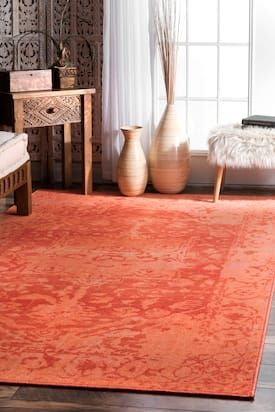 Rugs Usa Orange Ashlina Shadowy Medallion Rug Traditional