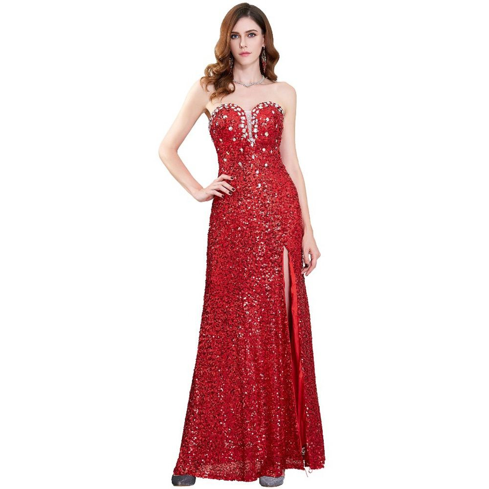 Click to buy ucuc grace karin long red prom dresses slit glitter