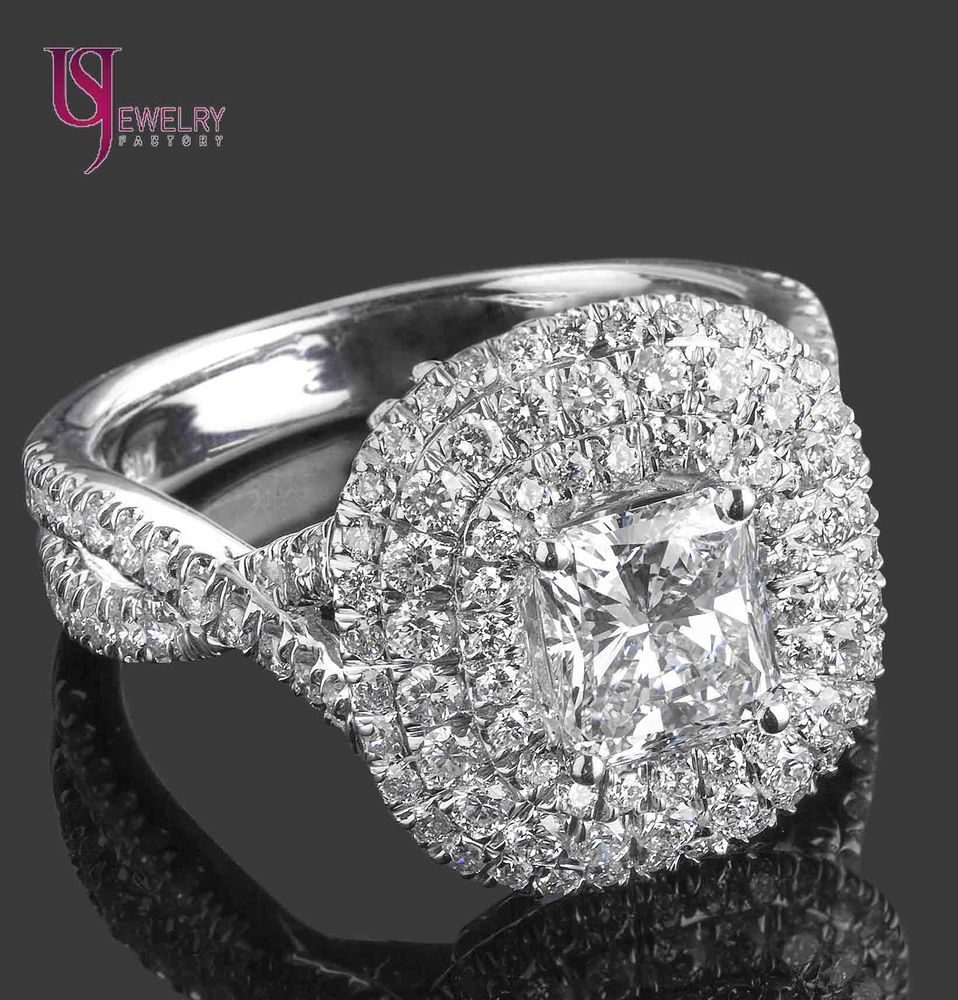 Gia certified ct radiant cut diamond halo engagement ring