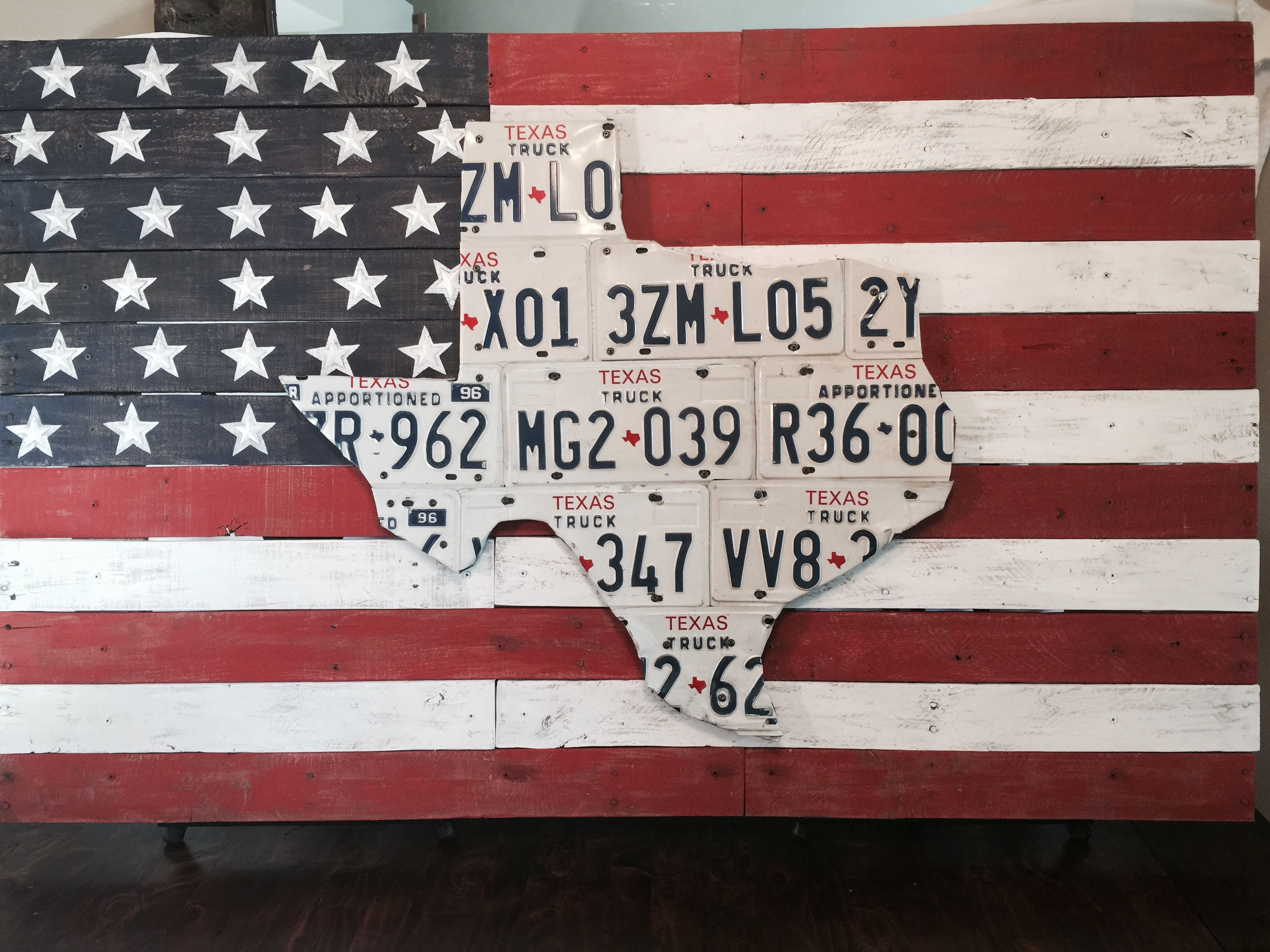 Huge Texas License Plate Piece On American Flag Backdrop Made From Pallet Wood Bike Room Dirt Bike Room Backdrops