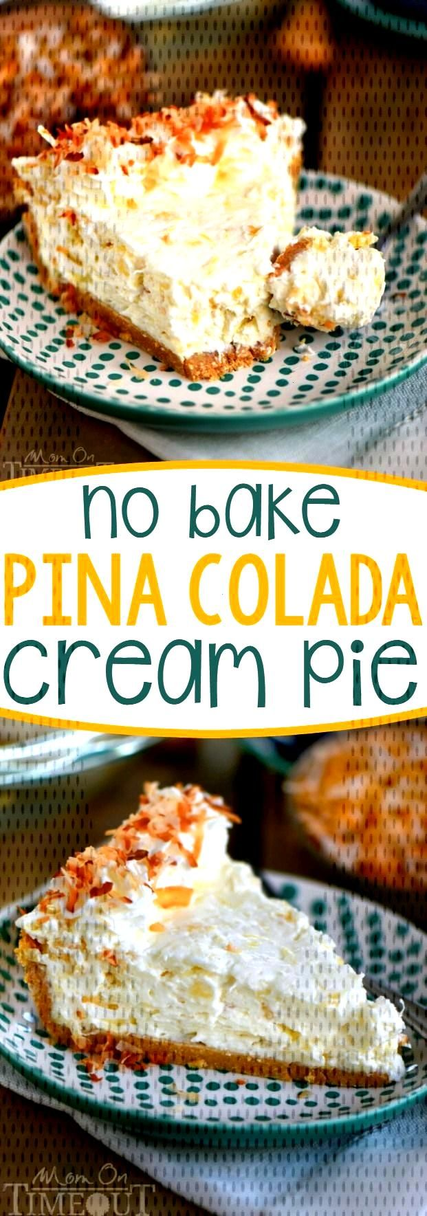 If you like drinking pina coladas...youre going to love this No Bake Pina Colada Cream Pie! Its a