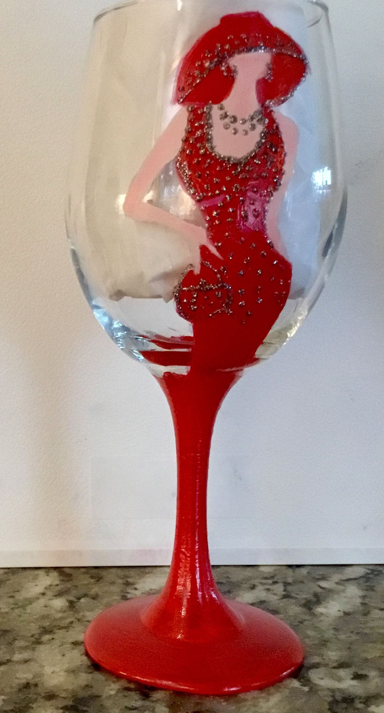 Pin By Kim Hover On Wine Glasses Glass Painting Hand Painted Queen Anne