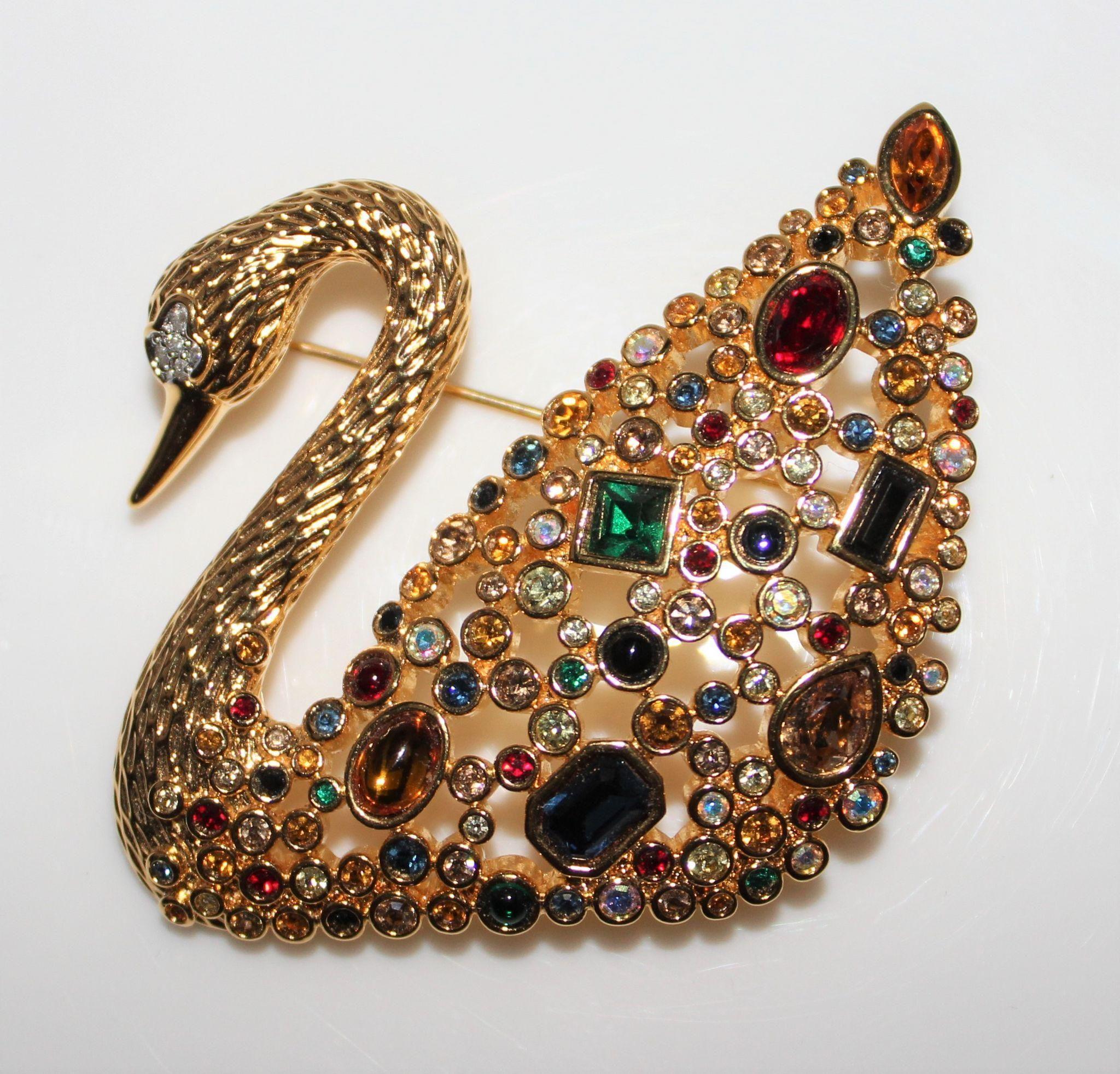 dc02a2227317e Signed Swarovski Swan Multi Color Crystal Brooch - In Box, 1995 ...