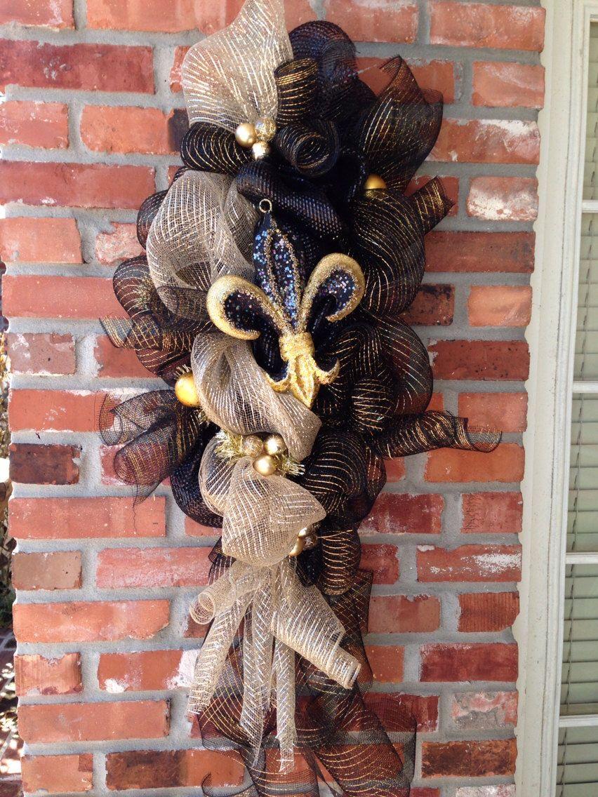 Deco mesh new orleans saints fleur di lis swag by