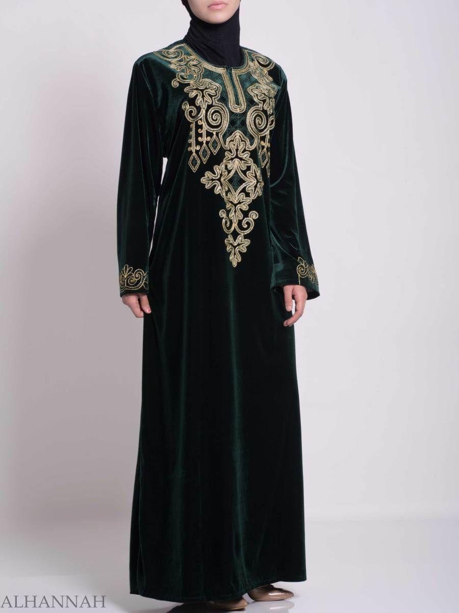 Pinecone-Stars Looped Embroidered Syrian Velvet Thobe