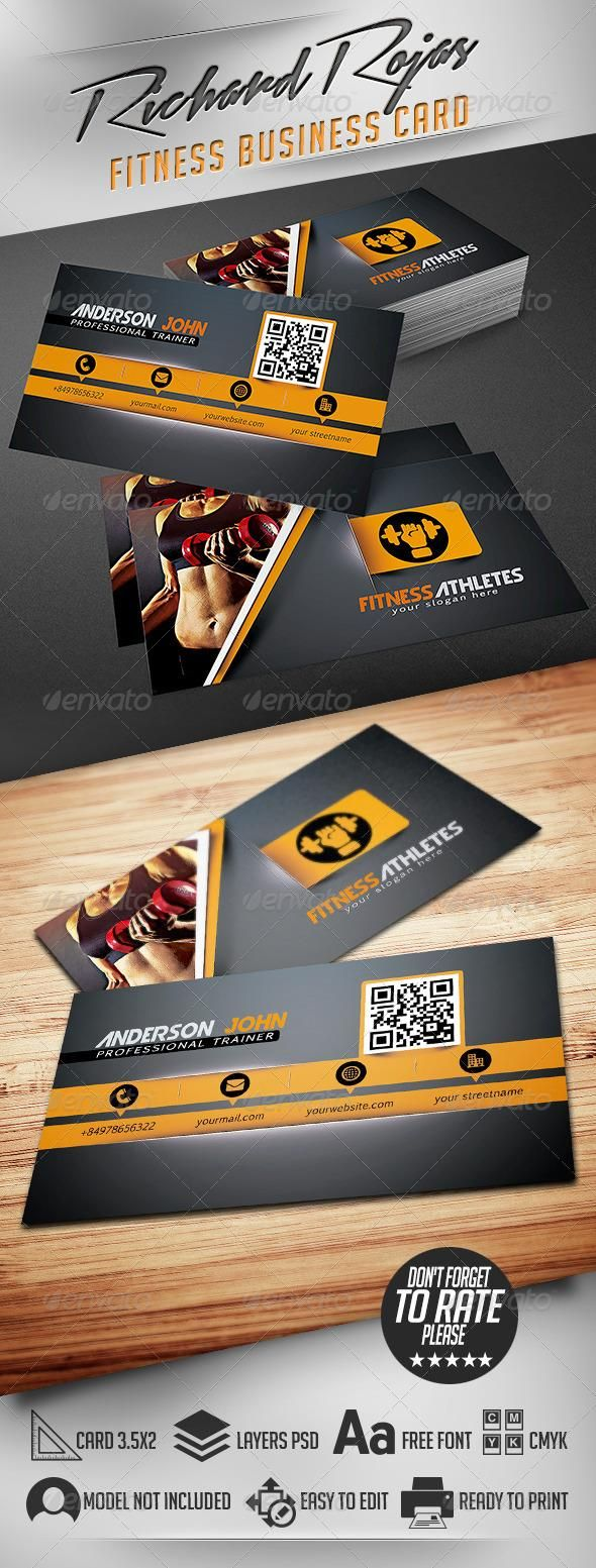 Fitness Business Card Psd By Richardrojas On Graphicriver Template Super Easy To Edit Text And Elements A Design Modern