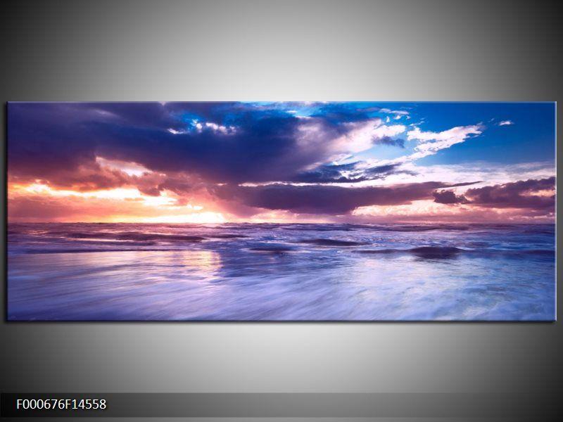 Glas schilderij Zonsondergang | Kleur: Paars, Blauw, Wit | F000676GS