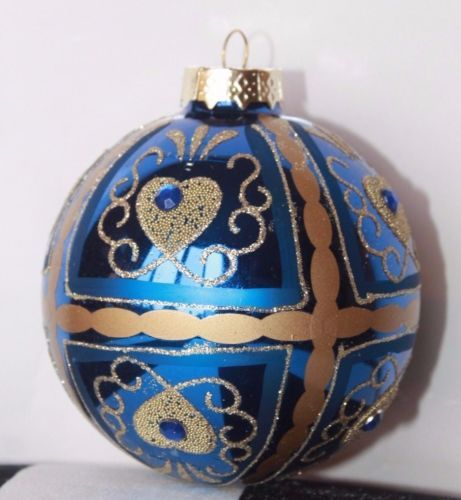 New Glass Blown Christmas Tree Ornament Ball Blue Gold Gem Glitter Hand  Painted   eBay - Details About New Glass Blown Christmas Tree Ornament Ball Blue Gold