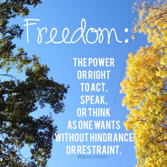 Freedom The Power Or Right To Act Speak Or Think As One Wants Without Hindrance Or Restraint Google Definition Thank About Me Blog Instagram Posts Life