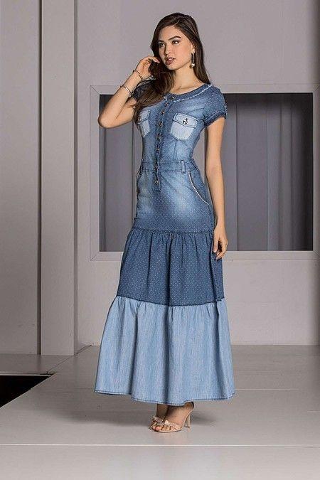 8b923f182f4 Vestido Jeans Longo - Raje Jeans - Moda Evangélica e Roupa Evangélica  Bela  Loba