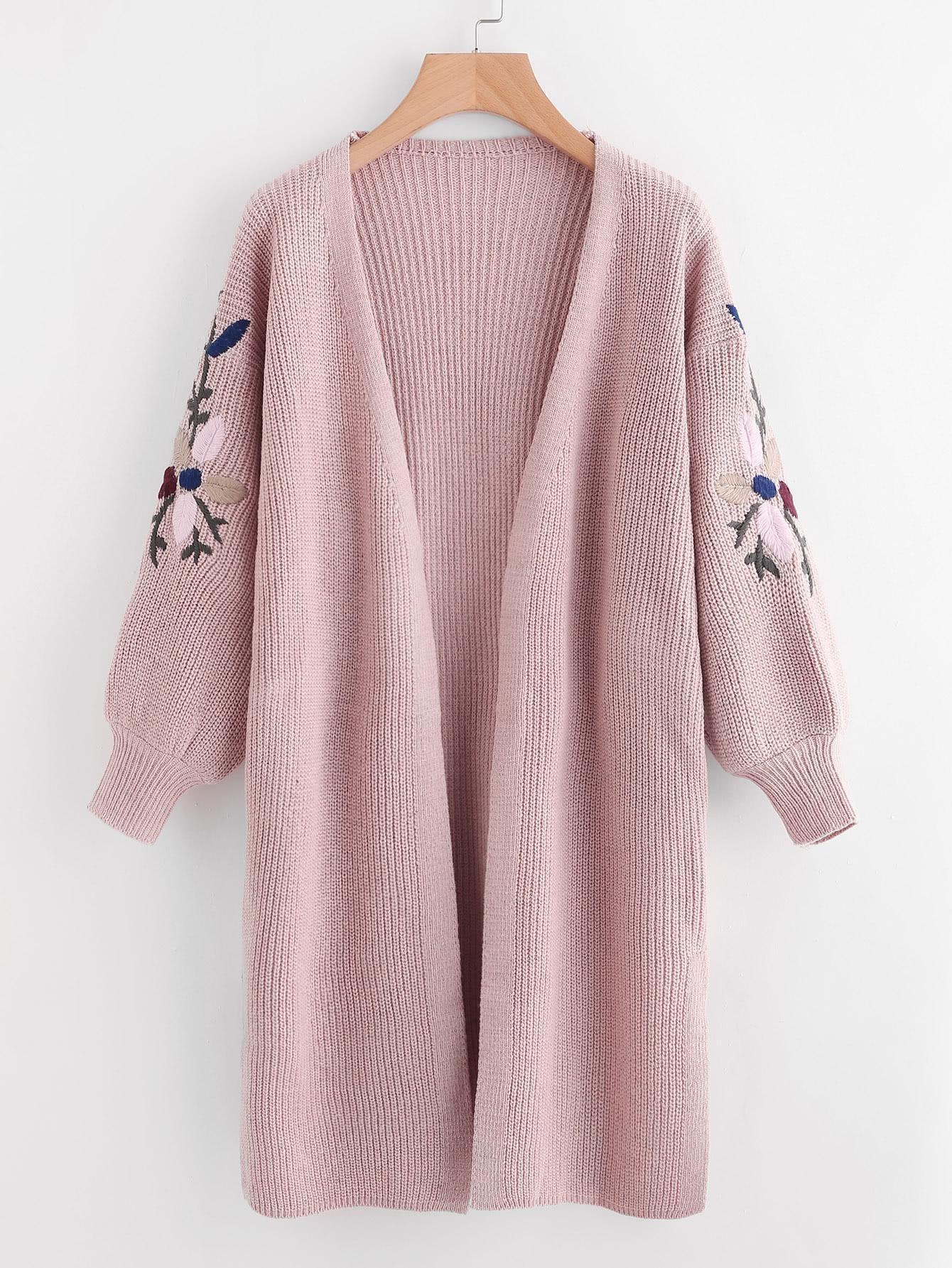 ROMWE - #ROMWE Floral Embroidered Side Split Longline Sweater ...