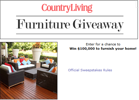 Country living furnish your home sweepstakes