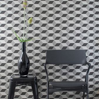 The squares wallpaper is a so called WallSmart wallpaper (non-woven fleece) where you only have to put the paste direct on the wall and then hang the sections of the wallpaper.