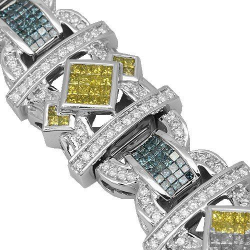 14K White Gold Mens Diamond Bracelet with Blue and Yellow Diamonds
