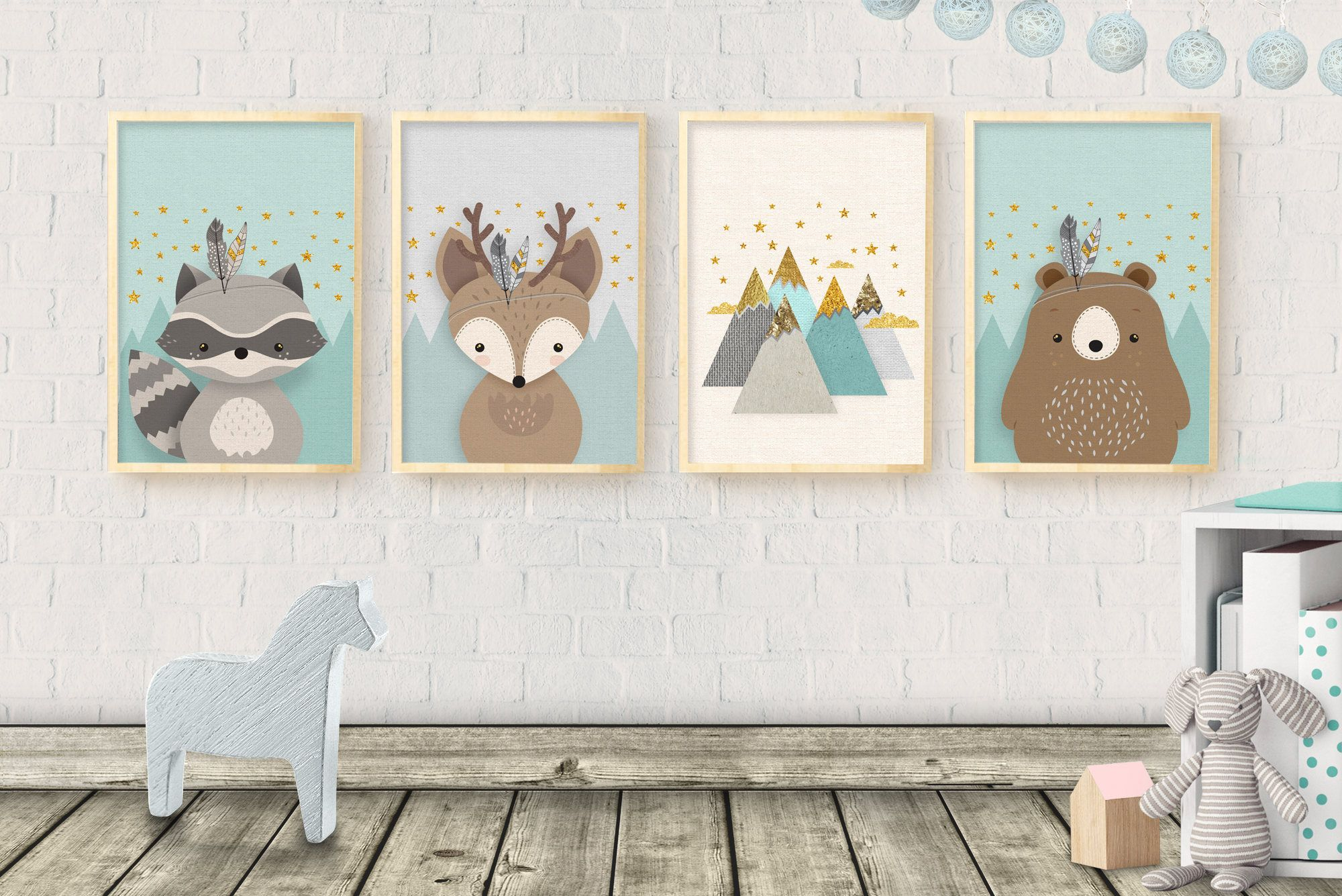 Woodland Nursery Decor Art Forest Animal