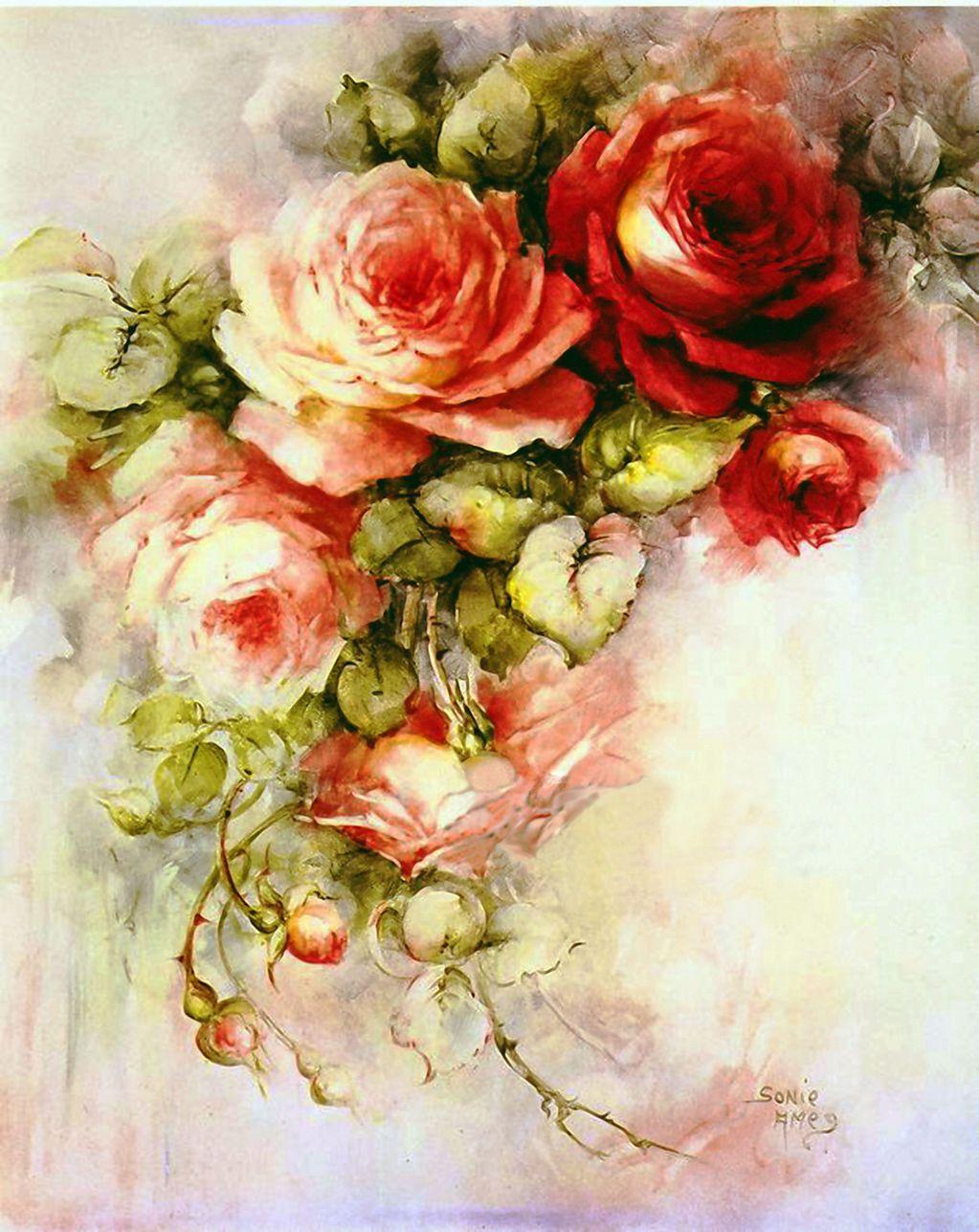 Rozovoe Nastroenie Flower Painting Vintage Roses Floral Art