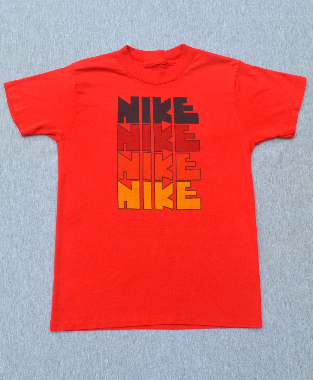 vintage 70s tee shirt NIKE rough block letters red rainbow authentic t-shirt  XS XXS