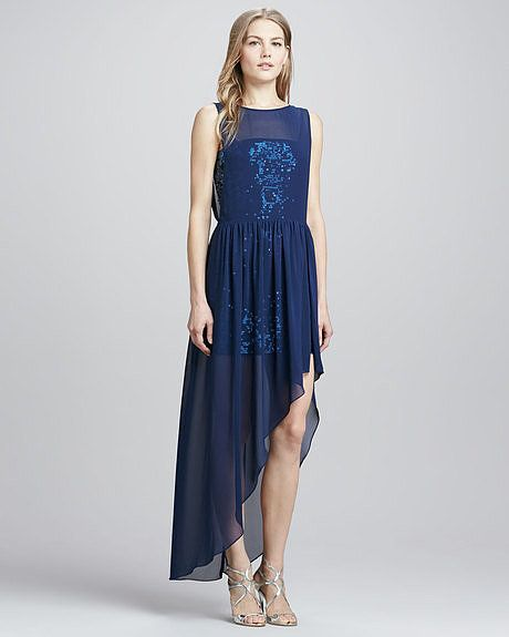 A midnight-blue hue and a touch of embellishment make this BCBG Max ...