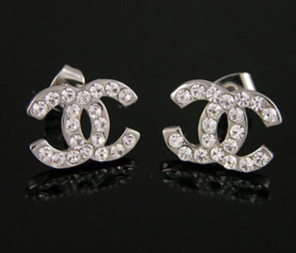 Cly Stud Cc Inspired Rhinestone Earring