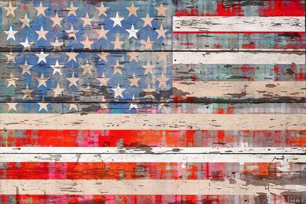 Old Glory Old Paint American Flag Wood Parvez Taj Artwork