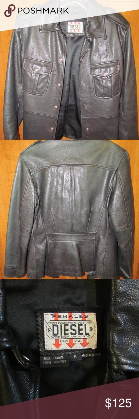 Females Diesel Leather Jacket Size Medium Leather jacket
